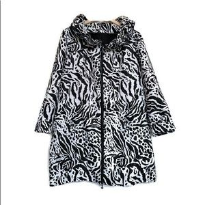 Samuel Dong Women's Zebra Animal Print Coat